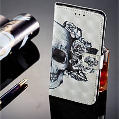 お買い得  Huawei Pシリーズケース/ カバー-ケース 用途 Huawei P20 lite P20 Pro カードホルダー ウォレット スタンド付き フリップ 磁石バックル フルボディーケース スカル ハード PUレザー のために Huawei P20 lite Huawei P20 Pro Huawei P20