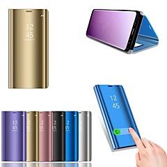 abordables Novedades-Funda Para Huawei P20 lite P20 con Soporte Cromado Espejo Funda de Cuerpo Entero Un Color Dura Cuero de PU para Huawei P20 lite Huawei