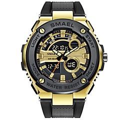 お買い得  メンズ腕時計-SMAEL 男性用 スポーツウォッチ デジタルウォッチ 日本産 日本産クォーツ ブラック 50 m 耐水 カレンダー クロノグラフ付き アナログ/デジタル カジュアル ファッション - ブラック 黒とゴールド / ストップウォッチ / 夜光計