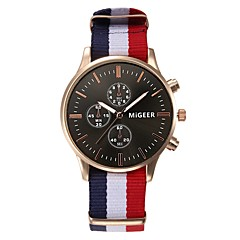 お買い得  メンズ腕時計-女性用 クォーツ 中国 クロノグラフ付き 布 バンド Elegant ブラック / 白 / ブルー / レッド