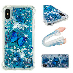Недорогие Кейсы для iPhone 6 Plus-Кейс для Назначение Apple iPhone X / iPhone 8 Plus Защита от удара / Движущаяся жидкость / С узором Кейс на заднюю панель Бабочка /