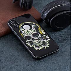 お買い得  iPhone 5S/SE ケース-ケース 用途 Apple iPhone X / iPhone 8 耐衝撃 / エンボス加工 / パターン バックカバー スカル ハード PC のために iPhone X / iPhone 8 Plus / iPhone 8