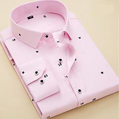 billige Herreskjorter-Herre - Stribet / Geometrisk Basale Skjorte / Kortærmet / Langærmet