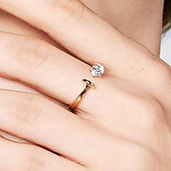 preiswerte Ringe-Damen Kubikzirkonia Öffne den Ring - S925 Sterling Silber Zierlich, Grundlegend, Koreanisch 8 Gold Für Geburtstag Alltag