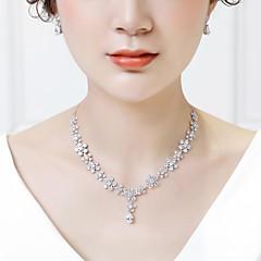 abordables Juegos de Joyería-Mujer Zirconia Cúbica Conjunto de joyas - Flor Moda Incluir Pendientes colgantes Collares con colgantes Blanco Para Boda Formal