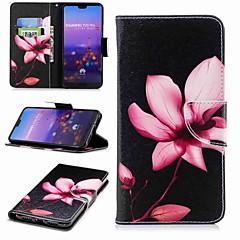 voordelige Hoesjes / covers voor Huawei-hoesje Voor Huawei P20 lite P20 Pro Kaarthouder Portemonnee met standaard Flip Patroon Volledig hoesje Bloem Hard PU-nahka voor Huawei