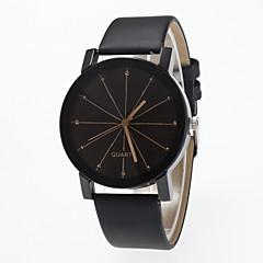 preiswerte Damenuhren-Herrn Damen Armbanduhr Quartz Großes Ziffernblatt Leder Band Analog Modisch Minimalistisch Schwarz - Schwarz