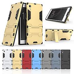 Недорогие Чехлы и кейсы для Sony-Кейс для Назначение Sony Xperia XA1 со стендом Кейс на заднюю панель Однотонный Твердый ПК для Sony Xperia XA1