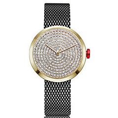 Χαμηλού Κόστους Γυναικεία ρολόγια-Γυναικεία Ρολόι Καρπού Κινέζικα Χρονογράφος / Lovely / απομίμηση διαμαντιών Ανοξείδωτο Ατσάλι Μπάντα Βραχιόλι / Μινιμαλιστική Μαύρο /