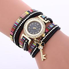 お買い得  レディース腕時計-女性用 ブレスレットウォッチ 中国 カジュアルウォッチ / かわいい / 模造ダイヤモンド PU バンド ボヘミアンスタイル / ファッション ブラック / ブルー / レッド
