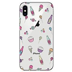 Недорогие Кейсы для iPhone-Кейс для Назначение Apple iPhone X / iPhone 8 Прозрачный / С узором Кейс на заднюю панель Мороженное Мягкий ТПУ для iPhone X / iPhone 8 Pluss / iPhone 8