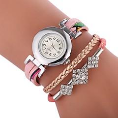 お買い得  レディース腕時計-女性用 ブレスレットウォッチ 中国 カジュアルウォッチ / かわいい / 模造ダイヤモンド PU バンド チャーム / ボヘミアンスタイル ブラック / 白 / ブルー