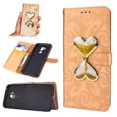 Недорогие Чехлы и кейсы для LG-Кейс для Назначение LG G7 Кошелек / Бумажник для карт / Движущаяся жидкость Чехол С сердцем Твердый Кожа PU для LG G7