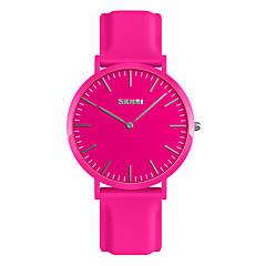 preiswerte Damenuhren-SKMEI Damen Armbanduhr Japanisch Wasserdicht / Neues Design / Armbanduhren für den Alltag Silikon Band Modisch / Minimalistisch Schwarz / Weiß / Rot / Ein Jahr
