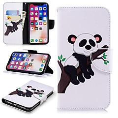 Недорогие Кейсы для iPhone X-Кейс для Назначение Apple iPhone X / iPhone 8 Plus Кошелек / Бумажник для карт / со стендом Чехол Панда Твердый Кожа PU для iPhone X / iPhone 8 Pluss / iPhone 8