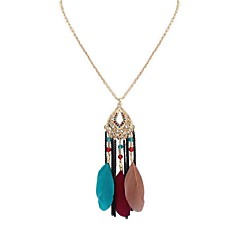 preiswerte Halsketten-Damen Lang Anhängerketten - Feder damas, Stilvoll, Retro, Süß Regenbogen, Rot, Leicht Grün 70 cm Modische Halsketten Schmuck 1pc Für Alltag, Verabredung