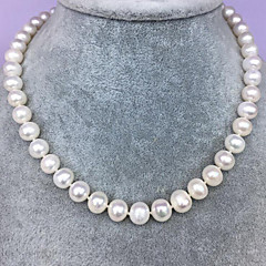 お買い得  ネックレス-女性用 淡水パール チョーカー  -  純銀製, 淡水パール シンプル, 自然, エレガント ホワイト 45 cm ネックレス ジュエリー 1個 用途 パーティー, 贈り物