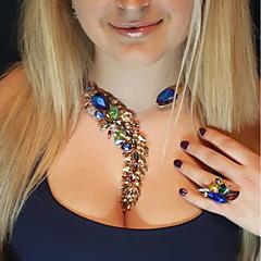 abordables Collares-Mujer Cristal No coincidente Gargantillas / Collares Declaración / Collar Y - Forma de Alfabeto Colgante, Bohemio, De moda Azul, Rosa, Azul Claro 33 cm Gargantillas 1pc Para Boda, Fiesta / Noche