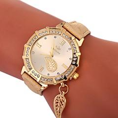 preiswerte Damenuhren-Xu™ Damen Armbanduhr Chinesisch Kreativ / Imitation Diamant / Großes Ziffernblatt PU Band Luxus / Blätter Schwarz / Weiß / Blau