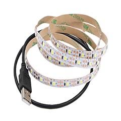 preiswerte LED Lichtstreifen-1m Flexible LED-Leuchtstreifen 60 LEDs 2835 SMD Warmes Weiß / Weiß Schneidbar / USB / Dekorativ USB angetrieben 1pc / Selbstklebend