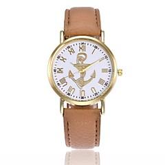 お買い得  レディース腕時計-女性用 リストウォッチ アンカー / カジュアルウォッチ レザー バンド ファッション ブラック / 白 / ブルー