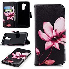 Недорогие Чехлы и кейсы для LG-Кейс для Назначение LG G7 Кошелек / Бумажник для карт / со стендом Чехол Цветы Твердый Кожа PU для LG G7