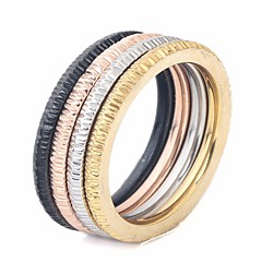 preiswerte Ringe-Paar Stilvoll Stapel Ring-Set Multi-Finger-Ring - Titanstahl Kreativ Stilvoll, Einfach, Einzigartiges Design 6 / 7 / 8 / 9 / 10 Regenbogen Für Strasse Klub