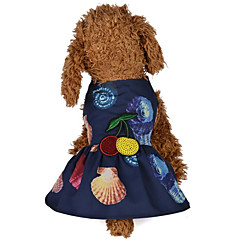 お買い得  犬用ウェア&アクセサリー-犬用 / 猫用 ドレス 犬用ウェア 花 / 植物 / プリント / フラワー ダークブルー / ピンク テリレン コスチューム ペット用 女性 ワンピース / ドレス