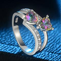 preiswerte Ringe-Damen Stilvoll Ring - Kupfer, Platiert, Glas Herzförmig Modisch, Romantisch, Elegant 5 / 6 / 7 / 8 / 9 Silber Für Geschenk Verabredung