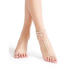 ieftine Bijuterii de Corp-Perle Brățară Gleznă Sandale Desculț - Perle Minge Plin de graţie, Bikini, Modă Alb / Alb Pentru Plajă Bikini Pentru femei