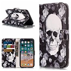 お買い得  iPhone 5S/SE ケース-ケース 用途 Apple iPhone X / iPhone 8 Plus ウォレット / カードホルダー / スタンド付き フルボディーケース スカル / フラワー ハード PUレザー のために iPhone X / iPhone 8 Plus / iPhone 8