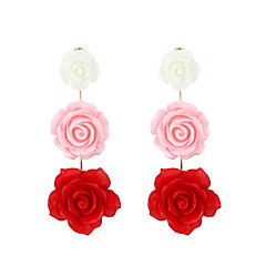 preiswerte Ohrringe-Damen Stilvoll Tropfen-Ohrringe - Harz Blume Modisch Weiß / Schwarz / Rot Für Hochzeit / Valentinstag