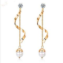 preiswerte Ohrringe-Damen Süßwasserperle Geometrisch Tropfen-Ohrringe - Titanstahl Modisch Gold / Weiß Für Party / Alltag