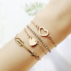 preiswerte Armbänder-Damen Stilvoll Ketten- & Glieder-Armbänder - Herz Einfach, Klassisch, Modisch Armbänder Gold Für Formal Büro & Karriere / 4pcs