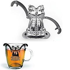 abordables Accesorios para té-Infusor de té colador de té de rana con soporte de mini placa de acero inoxidable