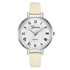 preiswerte Damenuhren-Geneva Damen Armbanduhr Chinesisch Neues Design / Armbanduhren für den Alltag / Cool Leder Band Freizeit / Modisch Rot / Lila / Beige / Ein Jahr