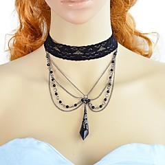 preiswerte Halsketten-Damen Kronleuchter Halsketten - Spitze Einfach, Modisch Schwarz 37.5 cm Modische Halsketten 1pc Für Party / Abend, Schultaschen