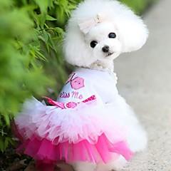 baratos Acessórios & Roupas para Cachorros-Cachorros / Gatos / Animais Pequenos Peludos Vestidos Roupas para Cães Coração / Amor / Lábios Azul / Rosa claro Jacquard Algodão / Algodão Ocasiões Especiais Para animais de estimação Feminino