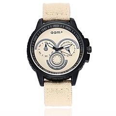 お買い得  メンズ腕時計-男性用 軍用腕時計 リストウォッチ クォーツ 新デザイン カジュアルウォッチ 大きめ文字盤 生地 バンド ハンズ カジュアル ファッション ブラック / ブルー / レッド - レッド グリーン ブルー 1年間 電池寿命