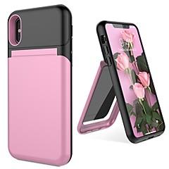 Недорогие Кейсы для iPhone 6-Кейс для Назначение Apple iPhone X / iPhone 8 Бумажник для карт / со стендом / Зеркальная поверхность Кейс на заднюю панель Однотонный Твердый ПК для iPhone X / iPhone 8 Pluss / iPhone 8
