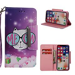 Недорогие Кейсы для iPhone 6 Plus-Кейс для Назначение Apple iPhone X / iPhone 8 Plus Кошелек / Бумажник для карт / со стендом Чехол Кот Твердый Кожа PU для iPhone X / iPhone 8 Pluss / iPhone 8