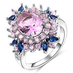 preiswerte Ringe-Damen Mehrschichtig / Stilvoll Statement-Ring / Ring - Platiert, Diamantimitate Blume Klassisch, Hyperbel, Franz?sisch 6 / 7 / 8 Rosa Für Party