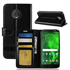 Недорогие Чехлы и кейсы для Motorola-Кейс для Назначение Motorola MOTO G6 / Moto G6 Play Кошелек / Бумажник для карт / Флип Чехол Однотонный Твердый Кожа PU для Moto X4 / MOTO G6 / Moto G6 Play