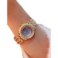 preiswerte Damenuhren-Damen Armbanduhr Quartz Chronograph leuchtend Armbanduhren für den Alltag Legierung Band Analog Luxus Glanz Silber / Gold - Gold Silber / Imitation Diamant / Großes Ziffernblatt