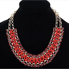 preiswerte Halsketten-Damen Kristall Statement Ketten - Leder, Diamantimitate Himmelblau, Rot, Regenbogen Modische Halsketten Schmuck Für Party