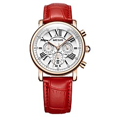 preiswerte Damenuhren-MEGIR Damen Kleideruhr Armbanduhr Japanisch Quartz Echtes Leder Bandmaterial Weiß / Rot 30 m Wasserdicht Kalender Chronograph Analog damas Luxus Modisch - Weiß Rot