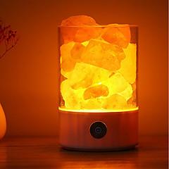 お買い得  LED アイデアライト-1本のUSBの夜光電源自然なヒマラヤの塩ランプ独特の結晶塩の家の寝室の照明の装飾工芸品