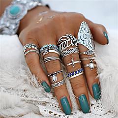 preiswerte Ringe-Paar Türkis Retro Ring Nagel Fingerring Midiring - Acryl, Aleación Blattform, Blume Erklärung, Böhmische, Punk Silber Für Halloween Party / 18pcs