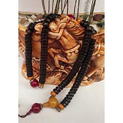 preiswerte Halsketten-Damen Jade Geflochten Glasperlen Y Halskette / Perlenkette - Holz Buddha, Lotus damas, Asiatisch, Klassisch, Volkston Dunkelrot 27.5591 Zoll Modische Halsketten Schmuck 1pc Für Normal, Formal