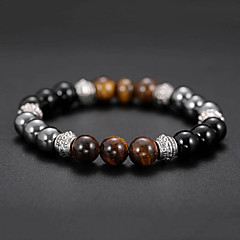 cheap Bracelets-Men's Black Gemstone Tiger's eye Stone Beaded Stylish Bead Bracelet Bracelet - Creative Natural, Casual / Sporty, Fashion Bracelet Jewelry Black For Birthday Daily